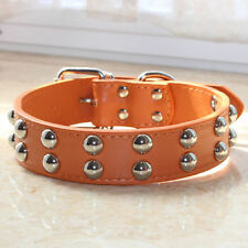 2 Rows Spiked Studded Leather Dog Collar for Medium Large Breed Pitbull Terrier