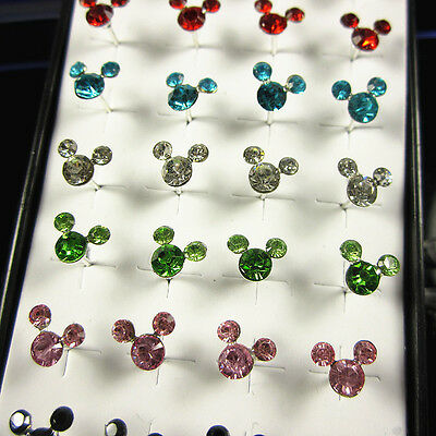Wholesale 40pcs Solid Silver Mickey Mouse Crystal Ear Stud Earrings