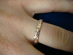 !BEAUTIFUL 14K ROSE GOLD FLOWER MOTIF BAND-RING 2.8 GRAMS, 3 MM WIDE, SIZE 7