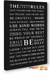 personalized family name family rules canvas wall art print poem