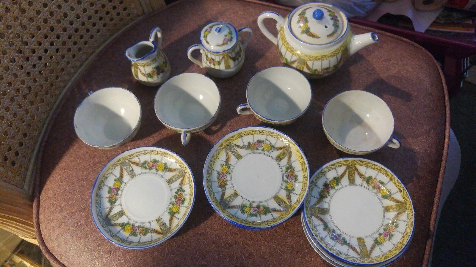 Vintage Toy Tea Set 16 Piece Made Japan Hand Painted Flower Garlands Porcelain