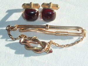 Vintage Swank Tie Bar with red accents