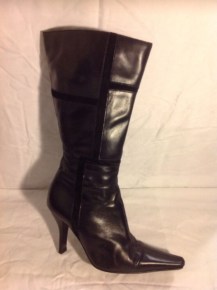 Barratts Black Mid Calf Leather Boots Size 40