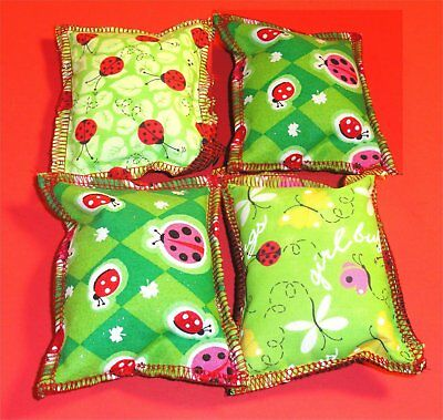 4 ea Hand Made Cute Lady Bugs Mix Patterns Rectangle Cat Catnip Pillow Toy