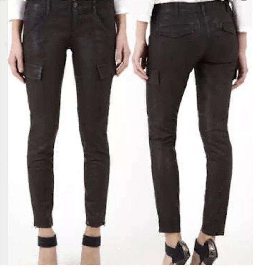 J Brand Houlihan Mocha Coated Cargo Skinny Zip Ankle Pants Size 28 Low Rise VGUC