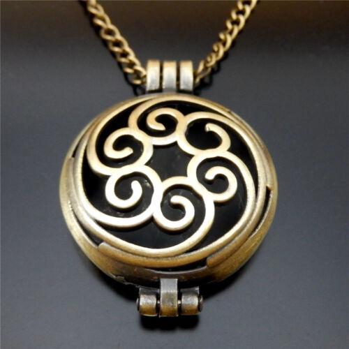 Vintage Bronze Alloy Hollowed Lockets Necklace70cm Essential Oil Diffuser 51062