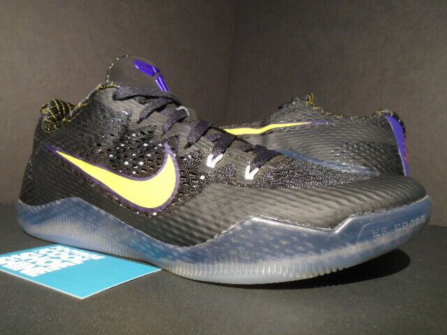 NIKE KOBE XI 11 CARPE DIEM LAKERS AWAY BLACK WHITE PURPLE gold 836183-015 10.5