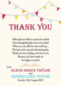 Personalised Christening Baptism Thank You Cards Bunting Twins Boy