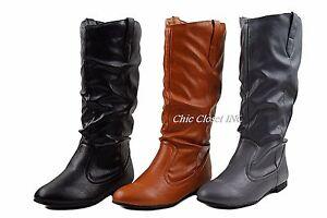 Faux Leather Flat Heel Mid Calf Cowboy Western Tall Women