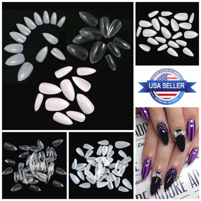 STILETTO Pointed FULL COVER Almond Press On Nail Tips **YOU CHOOSE!**
