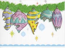 "50's style ""Broken Ornaments"" Christmas Art Card MID-CENTURY Shiny Brite Kugel"