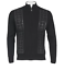 CARDIGAN FULL ZIP SWEATER BY INSERCH WITH SUEDE DESIGNER PANELS BLACK
