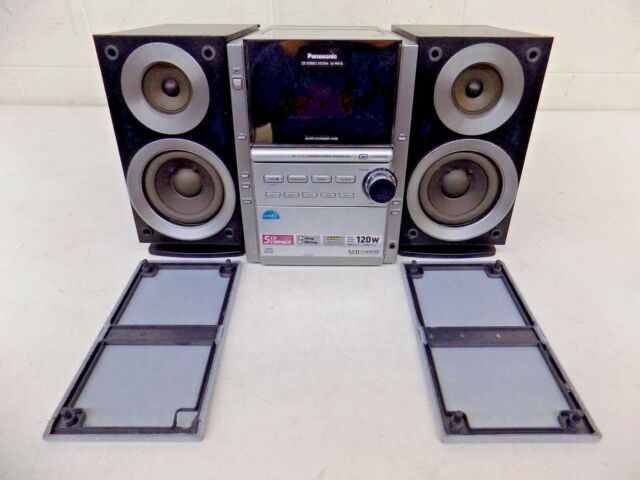 Panasonic Sa Pm18 Am Fm 5 CD Changer Cassette Bookshelf Surround System