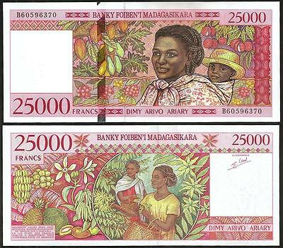Objective Madagascar 25.000 25000 Franken 1998 Unc-p 82 Delicious In Taste Africa Paper Money: World