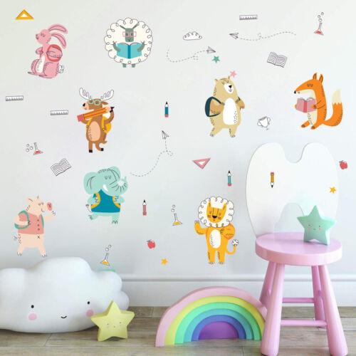 Cartoon Animal Wall Stickers Children/'s Educational Nursery Classroom Art Decals