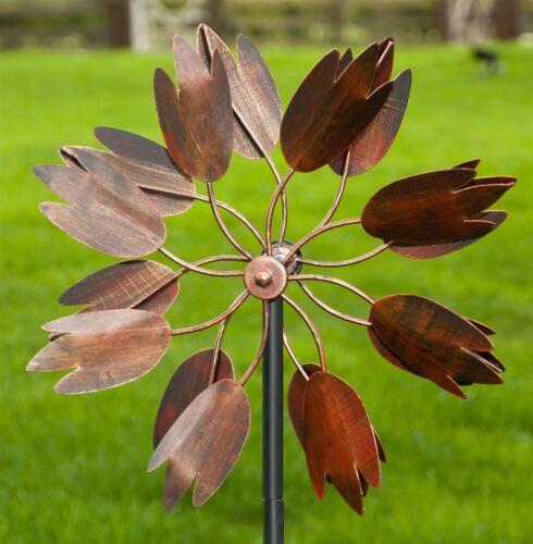 1.34m Burnished Copper Floral Magic Flower Petal Design Wind Dancer Wind Spinner