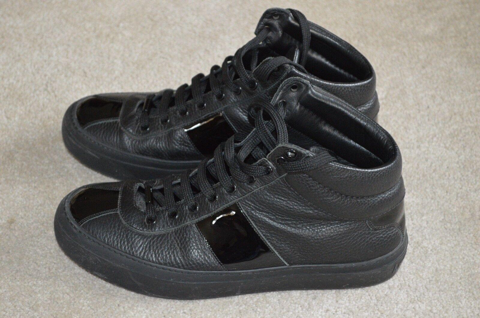 Jimmy Choo Black Belgravia Leather Sneakers Hi Top Trainers Mens UK 7.5 EU 41.5