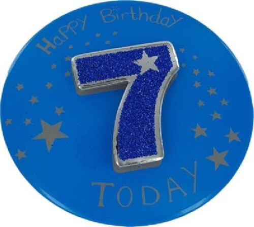 8CM 3D BADGE BOYS OR GIRLS AGES 2 3 4 5 6 7 8 9 10 CHILDRENS BIRTHDAY PARTY NEW