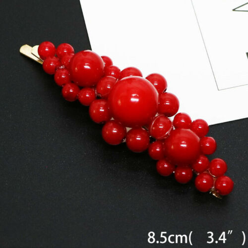 Manual Women Pearl Hair Clip Snap Barrette Stick Hairpin Hair Accessories Gift