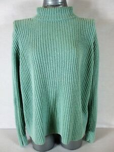 VENEZIA-womens-Sz-18-20-L-S-green-RIBBED-turtle-neck-HEAVYWEIGHT-sweater-A5-P