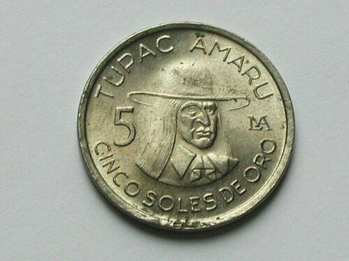 Peru 1977 5 SOLES DE ORO Coin with Last Neo-Inca Emperor Tupac Amaru 1545-1572