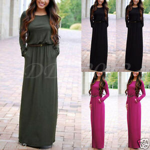 Fashion-Women-Casual-Long-Sleeve-Belted-Party-Evening-Cocktail-Long-Maxi-Dress