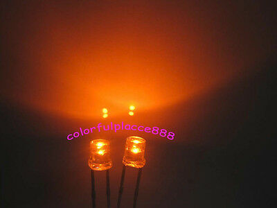 50pcs, 3mm Orange Flat Top LED Wide Angle Lamp Bright Leds Light Free Shipping