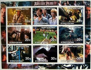 2001-KYRGYZSTAN-JURASSIC-PARK-STAMPS-SHEET-SCIENCE-FICTION-MOVIE-DINOSAUR