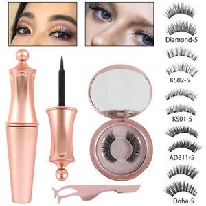 Magnetic-Eyelashes-False-Eye-Lashes-Extension-Liquid-Eyeliner-and-Tweezer-NEW