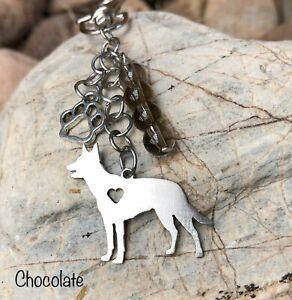 dog key chain handmade dog bag charm Australian Shepherd Keychain
