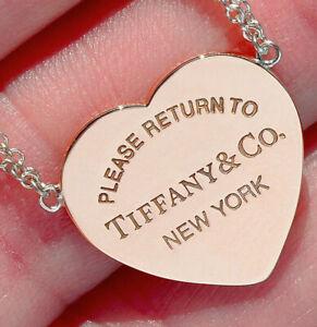 Tiffany Co Silver Return To Tiffany Heart Tag Rubedo Double Chain Necklace Ebay