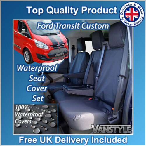 BLACK TAILORED WATERPROOF FRONT SEAT COVERS 1+2 H//DUTY FORD TRANSIT CUSTOM 12