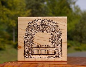 Rose-Garden-Arch-Gate-Flowers-Hearts-Wood-Mounted-Rubber-Stamp-by-D-O-T-S-R-118