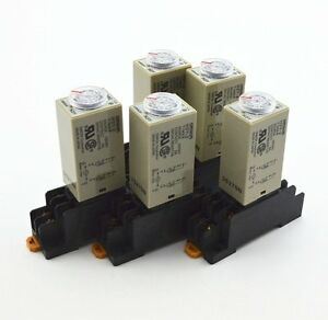5Pcs-H3Y-2-AC-110V-Delay-Timer-Time-Relay-0-5-Seconds-with-Base