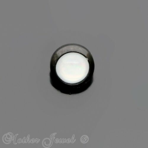 5MM WHITE OPALITE JET BLACK 14G DERMAL PIERCING IMPLANT ANCHOR TOP