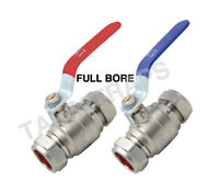 Lever Full Bore Heavy Duty Ball Valves Blue or Red Handle 15mm or 22mm & 28mm