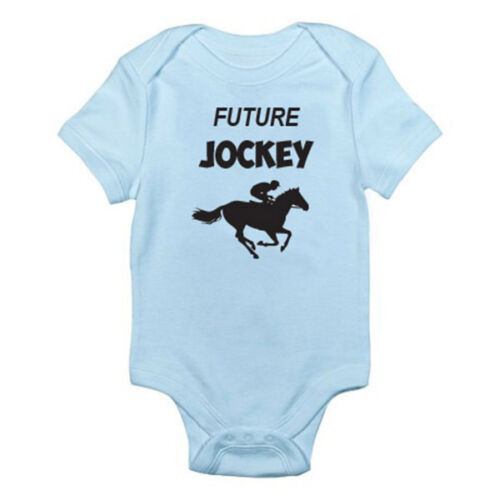 Novelty Themed Baby Grow//Suit Racing Horse Sport Jumping FUTURE JOCKEY