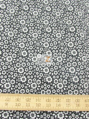 DOT AND DASH FLORAL BLACK BY RILEY BLAKE COTTON FABRIC FH-2877 BY YARD CLOTHING