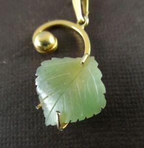 Vintage Signed Sorrento 1/20 12K GF Carved Jade Leaf Pendant Necklace