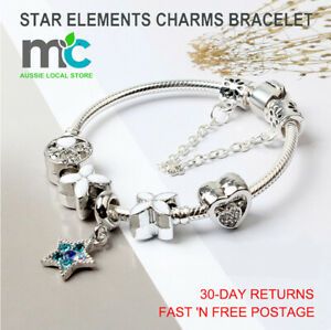 Star Elements Charms Bracelet Blue Sea Star Shell Glass Beads Gift Bangle