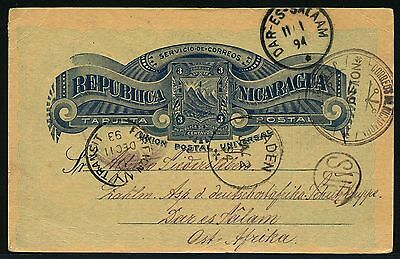 261/DOA 1893 Postkarte aus Nicaragua via New York Aden Dar-Es-Salaam viel Text