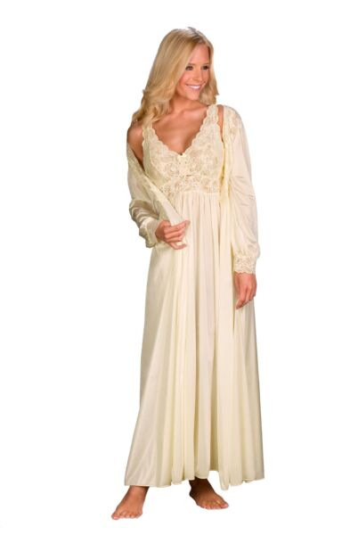 45ebd41df52f4 ShadowLine Silhouette Gown and Peignoir Set (51737) Ivory 2x for sale  online