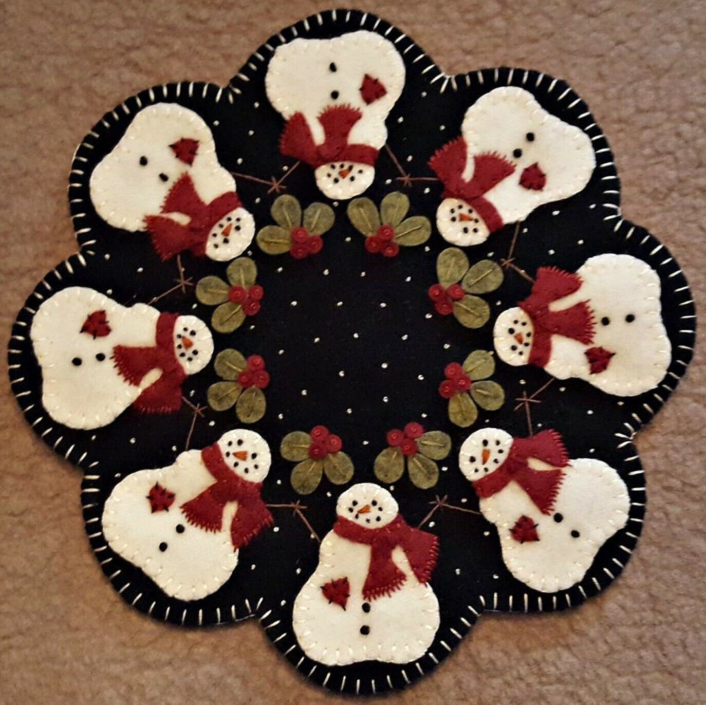 Wool Felt Candle Mat Penny Rug Kit Frosted Kisses Wool