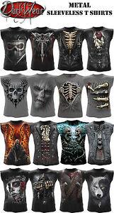 Spiral-Direct-Metal-Sin-mangas-Camiseta-De-Tirantes-Calavera-Fire-Rock-metal
