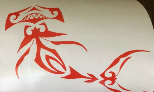 Orange Tribal Hammerhead Shark Vinyl Car Window Decal Sticker Color Choice