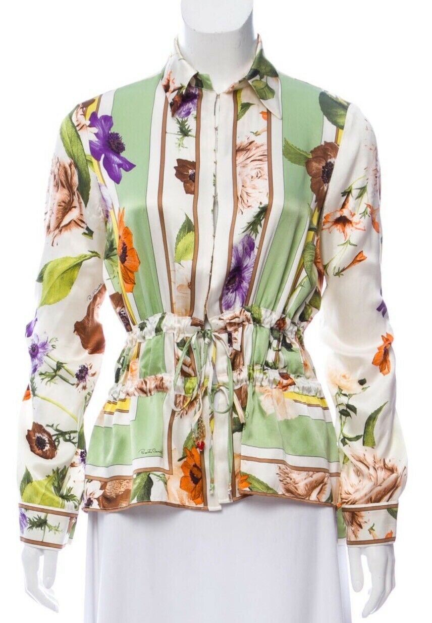 azulsa de seda floral hermoso Roberto Cavalli que  nos 42 6 8  orden en línea