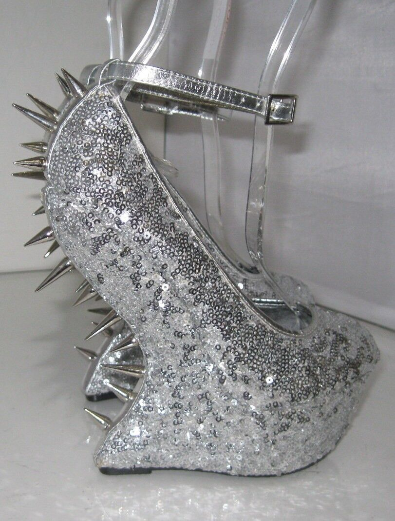 Privileged Silver Spikes 6.5  High Wedges Heel 2  Platform Sexy shoes Size 5