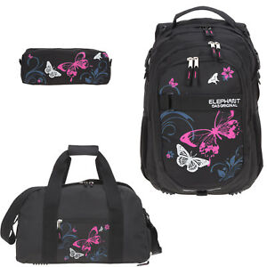 Schulrucksack-Maedchen-3er-Set-Elephant-Rucksack-Sporttasche-12679-Butterfly-Pink