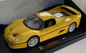 1-18-2007-Hotwheels-Elite-1995-Ferrari-F50-Giallo-Amarillo-menta-y-encajonado