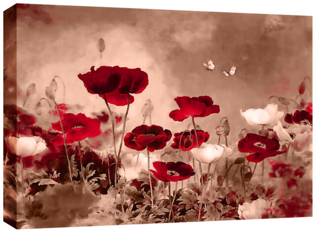 Red Sepia Canvas Chinese Floral Wall Art Picture 77x52 Cm Framed 3cm ...
